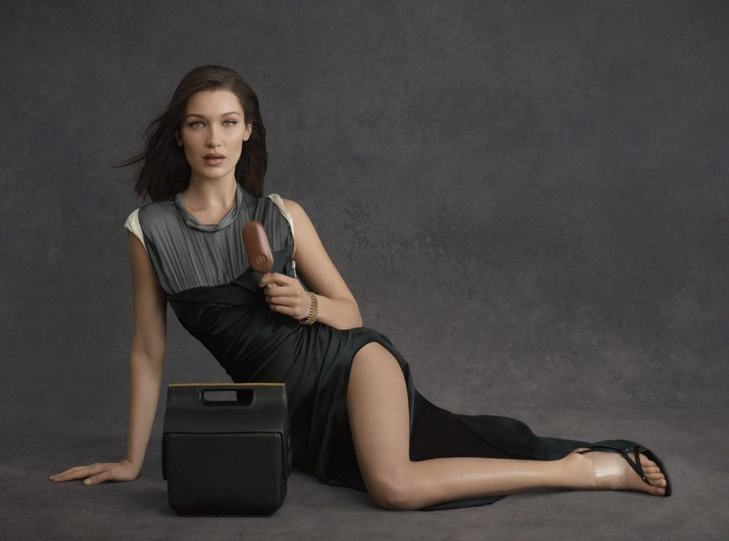 Bella Hadid with Magnum x Alexander Wang cooler bag