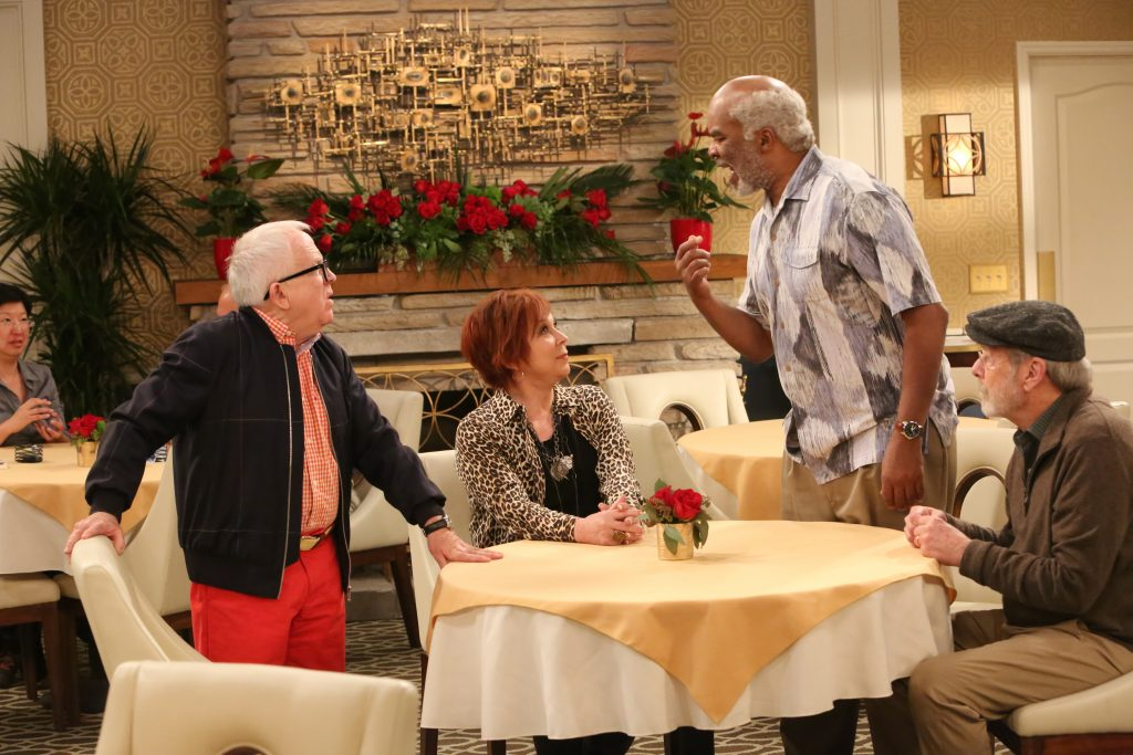 "Leslie Jordan, Vicki Lawrence, David Alan Grier and Martin Mull in ""The Cool Kids"" (Photo by Patrick McElhenney/Fox)"