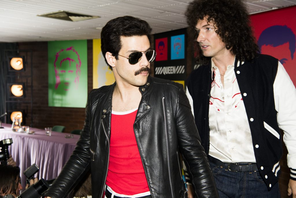 "506b352f9916ef Rami Malek and Gwilym Lee in ""Bohemian Rhapsody"" (Photo by Alex Bailey)"
