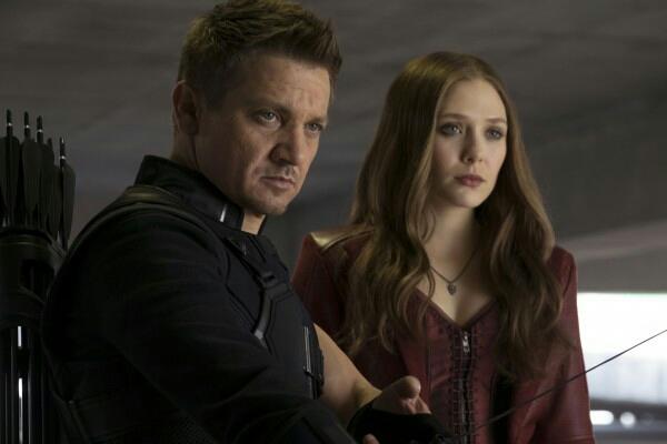 "Jeremy Renner and Elizabeth Olsen in ""Captain America: Civil War"" (Photo courtesy of Marvel Studios)"