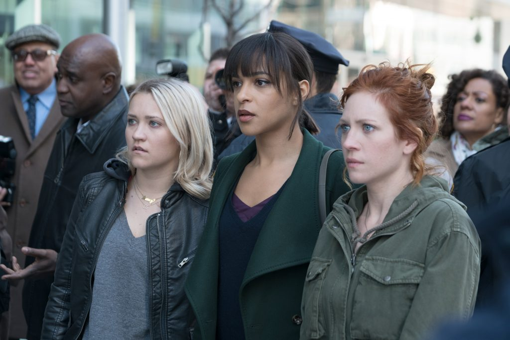"Emily Osment, Megalyn Echikunwoke and Brittany Snow in ""Not Just Me"" (Photo by Linda Kallerus/Fox)"