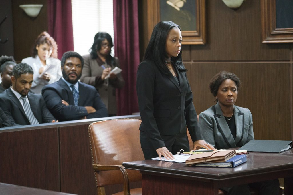 "Donovan Christie Jr., Tyler Perry, Bresha Webb and Crystal Fox in ""A Fall From Grace"""