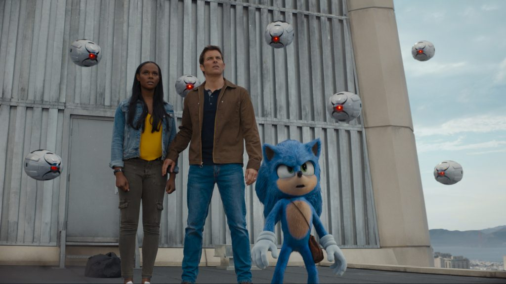 "Tika Sumpter, James Marsden and Sonic in ""Sonic the Hedgehog"""